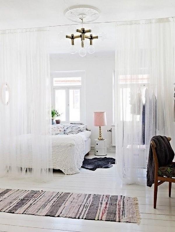 All-White-Home-Decor-with-Curtins1  Unique ideas for room dividers All White Home Decor with Curtins1