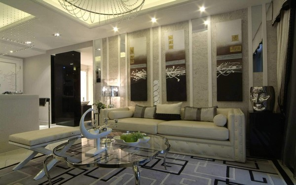 Luxury-living-room-Luxury-ceiling-lamp-and-Wonderful-glass-stainless-frame-coffee-table-with-dillan-sleeper-sofa-solutions-crave-fancy-living-room-classy